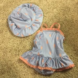 Gymboree 3-6 mo swimsuit and matching hat